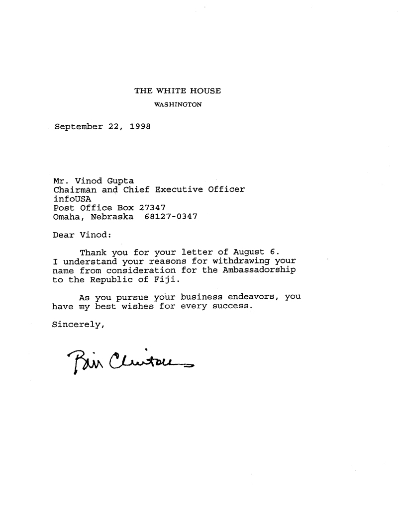 Letter from Bill Clinton